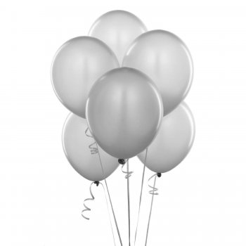 "Metallic White Latex Balloons 12"" - 10CT-0"