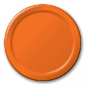 "10"" Premium Plastic Orange Round Plates - 10CT-0"