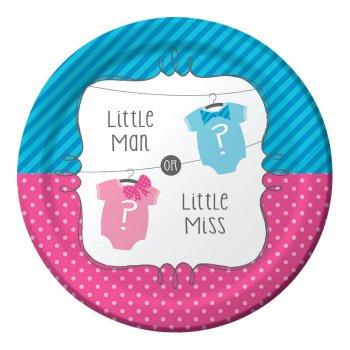 """Little Man Little Miss 7"""" Dessert Plates - 8CT-0"""