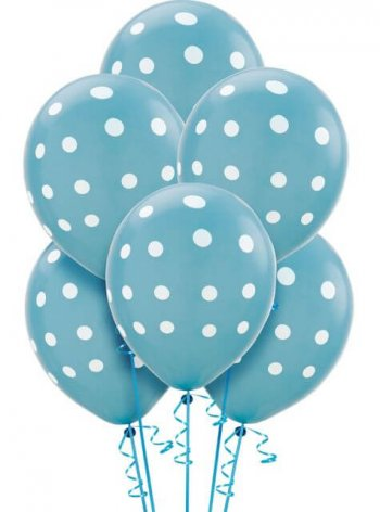 "Polka Dot Light Blue Latex Balloons 12"" - 100CT-0"