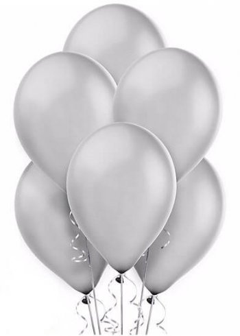 "Silver Latex Balloons 12"" - 10CT-0"