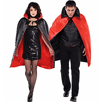 Adult Red Black Reversible Vampire Cape-0
