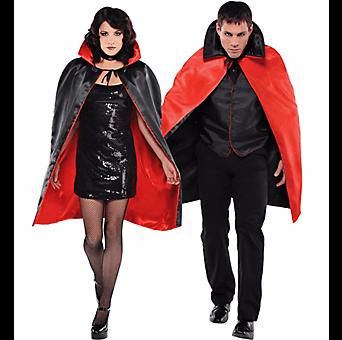 Adult Red Black Reversible Vampire Cape-0