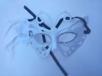 White Butterfly Feather Mask-0