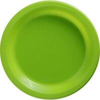 "10"" Premium Plastic Lime Green Round Plates-10ct-0"
