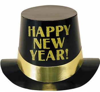 Black & Gold Happy New Year Top Hat - 1PC-0