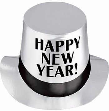 Silver Happy New Year Hat - 1PC-0