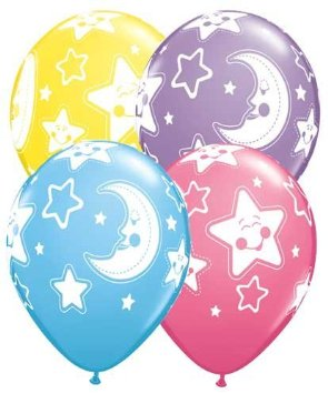 "Baby Moons & Stars Balloons 11"" - 10PC-0"