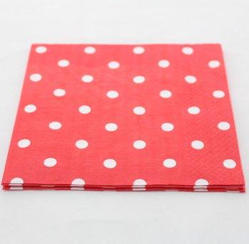 Polka Dot Paper Napkins Red - 20 PC-0