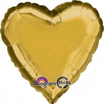 "Metallic Gold Heart Balloons 18"" -0"