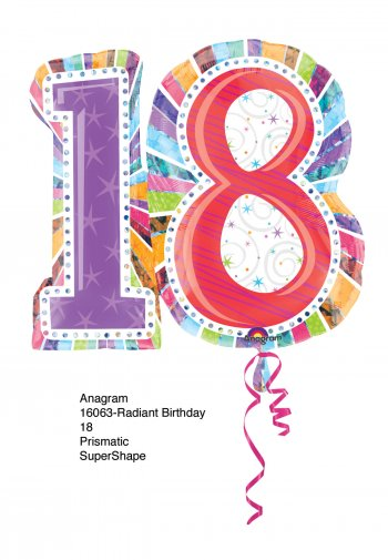 "18th Birthday Balloons 28"" P40-1PC-0"