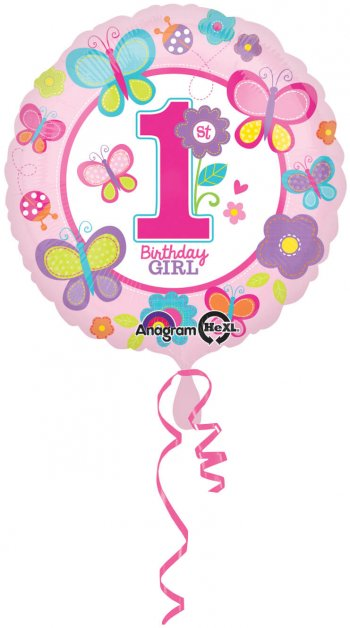 "1st Birthday Girl Butterflies and Flower Balloons 18"" S40-0"