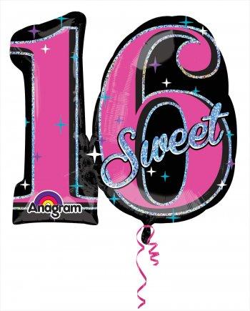 "Sweet Sixteen Sparkle Balloons 28"" P40-0"