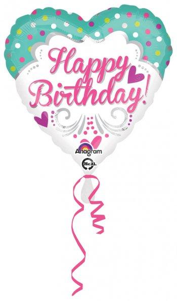 """Happy Birthday Polka Hearts 18"""" S40-0"""