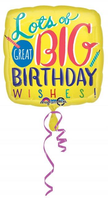 "Big Birthday Wishes Balloons 18"" S40-0"