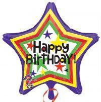 "Happy Birthday Star Balloons 18"" S40-0"