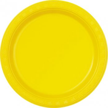 "10"" Premium Plastic Yellow Round Plates - 10PC-0"