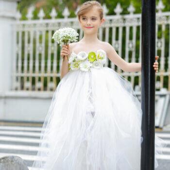 White Flower Girl Dress-0