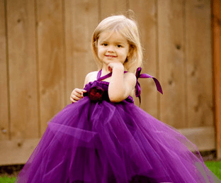 Purple Tutu Dress With Flower-0