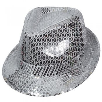 Sequin Fedora Hat Silver-0