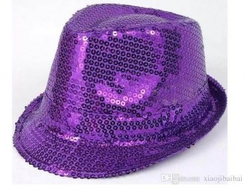 Sequin Fedora Hat Purple-0