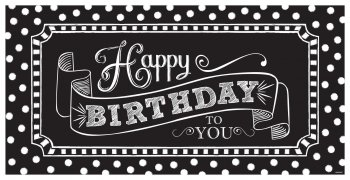 "Happy Birthday Plastic Banner Black & White 65"" x 33.5""-0"