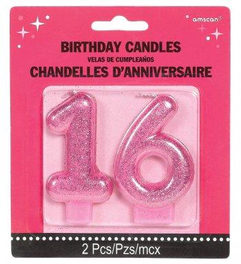 Sweet 16 Glitter Candle-0