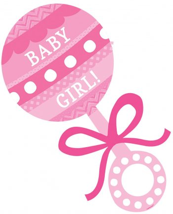 """Baby Girl Rattle Cutout 12""""-0"""