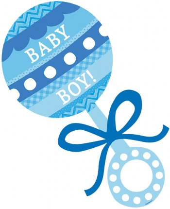 "Baby Boy Rattle Cutout 12""-0"