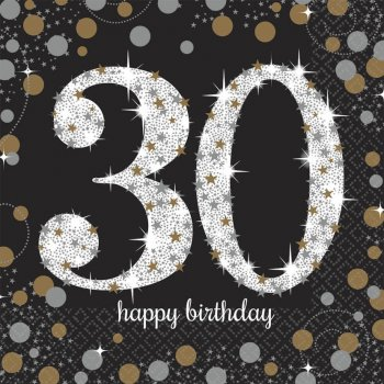 Sparkling Celebration 30th Birthday Lunch Napkins - 16PC-0