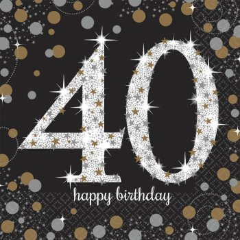 Sparkling Celebration 40th Birthday Lunch Napkins - 16PC-0