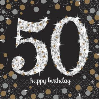 Sparkling Celebration 50th Birthday Lunch Napkins - 16PC-0