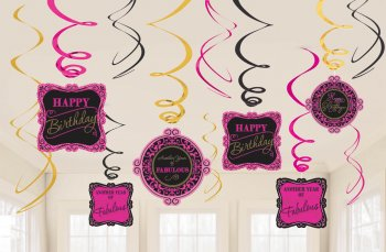 Fabulous Birthday Swril Decoration - 12PC-0