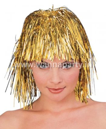 Disco Tinsel Wigs - Gold-0
