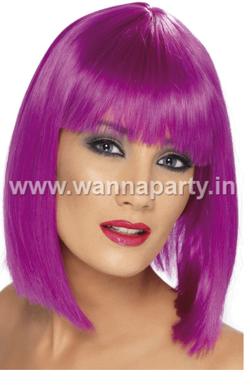 Colored Blunt Cut Wig - Purple-0