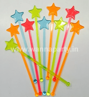 Multi Color Neon Star Stirrers - 10PC-0