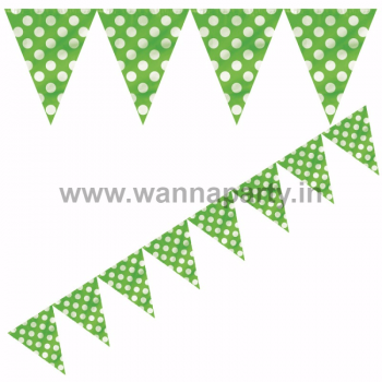 Polka Dot Buntings GREEN - Over 9 FT -0