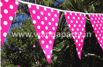 Polka Dot Buntings PINK - Over 9 FT -0