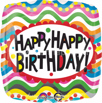 "Birthday Squibbles Balloons 18"" S40-0"