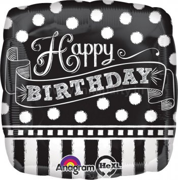 "Happy Birthday Chalkboard Balloons 18""-0"