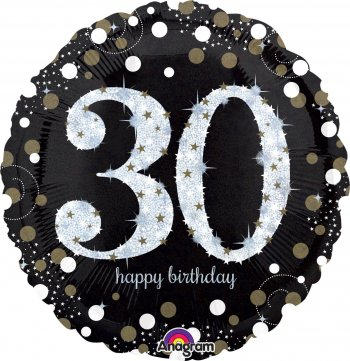 "Sparkling 30th Birthday Balloons 18"" S55-0"