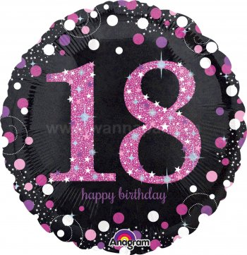 "18th Pink Birthday Balloons 18"" S55-0"