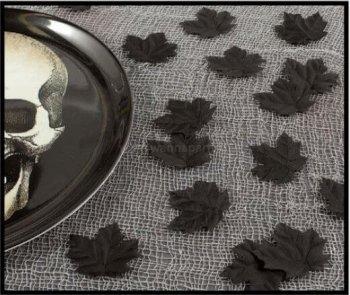 Leaves Black Fabric Boneyard - 72PC-0