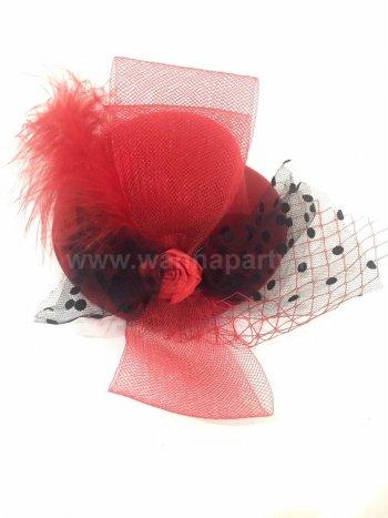 Red Clip Top Net Headband-0