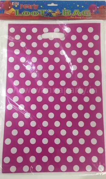 Big Polka Dot Loot Bags - 10PC - PINK-0