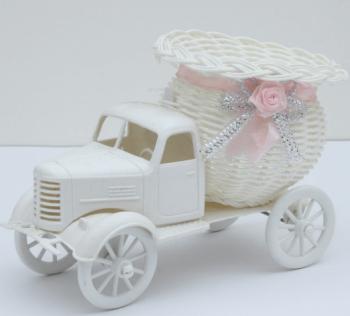 Girl Truck Basket w/ Pink Satin Ribbon-0