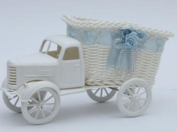 Boy Truck Basket w/ Blue Satin Ribbon-0