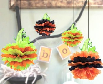 Pumpkin Tissue Paper Pom Pom - 4PC-0