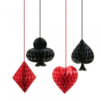 Casino Honeycomb Hanging Decoration - 4PC-0