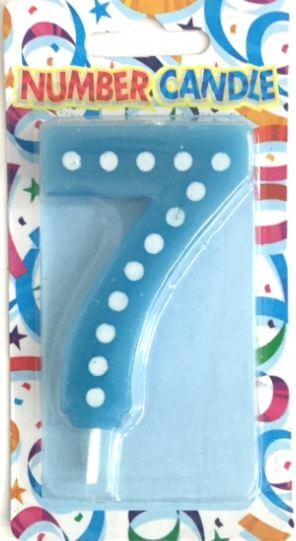 "Polka Dot 7 Candle Blue 4""-0"